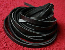 "75"" long 10mm BLACK FLAT RIBBON THONG LEATHER CORD LACE STRAP,2.5mm thick"