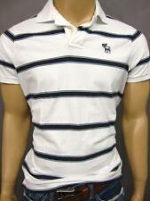 ABERCROMBIE & FITCH  A&F MENS WHITE STRIPE POLO T SHIRT 2XL