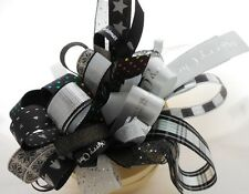 5MM -25MM ASSORTED BLACK WHITE SILVER CHRISTMAS RIBBON BUNDLE 10 X 1MTR