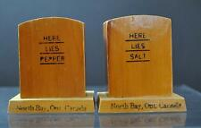 "Vintage Wooden Headstone Salt Pepper Shaker North Bay Ont Canada 2 1/4"" GD35"