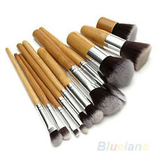 11 PCS Wooden Handle Soft Fiber Brushes For Women Girls Makeup Cosmetics Sets