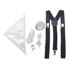 "Men's 2"" Tie, Braces, Bow Tie Cufflinks, & Pocket Handkerchief Set - Wedding etc"
