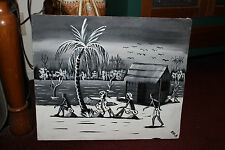 Superb Ghana Painting On Flour Bag-Ocean Tribal Scene-Signed AYI.A-Black & White