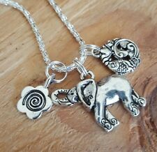 Good Life Karma Lotus Flower Fish Spiral Ganesh Elephant Silver Necklace  p8ngb