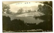 Lake Cuba NY-VIEW IN MORNING AND AT NIGHT- RPPC H.E Wilcox Postcard