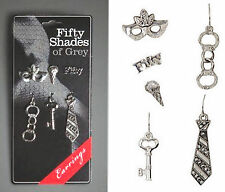 Fifty Shades Of Gray Set 6 Interchangeable Post Fishhook Earrings Handcuff Mask