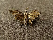 VINTAGE 40'S FILIGREE SILVER SMALL BUTTERFLY PIN
