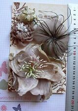 MOCHA Feather Facinator & GOLD Organza 4 Flower Pk - appr 30-110mm Manor House