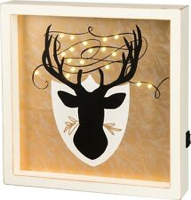 NEW!~LED Wood Box Light Up Sign~Christmas Reindeer Antler~Deer Mounted~Picture