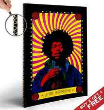Jimi Hendrix Psychedelic Poster * Retro Vintage A4 Glossy Print * Mounted