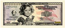 Collectible Commemorative Shirley Temple Novelty Million Dollar Bill