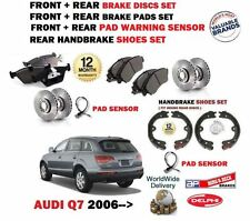 FOR AUDI Q7  2006-> FRONT + REAR BRAKE DISCS SET + DISC PADS + SHOE + SENSOR KIT