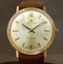 MINT! 14K SOLID GOLD 60s HAMILTON Thin-O-Matic MICRO ROTOR SWISS MEN WATCH
