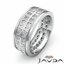 Princess Diamond Mens Eternity Wedding Solid Band 9mm Classic Ring Platinum 3Ct
