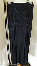 ISSEY MIYAKE BLACK RAYON SILK KNIT LACED UP FRONT/BACK LONG WIGGLE SKIRT SZ 2/M