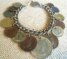 COINS OF THE WORLD CHARM BRACELET 15 COINS ESTATE JEWELRY NICE
