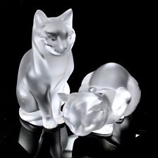 Lalique Pair 2 Large Cats Crouching and Standing With Boxes