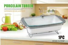 Rectangle Porcelain Chafing Dish Tureen Food Warmer Chafing Dishes Silver