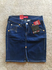 NEW LEVIS TYPE 1 WOMEN MINI PENCIL SKIRT VINTAGE WASH INDIGO BLUE DENIM SIZE XS
