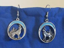 VTG Pair Dangle Earrings Silver Tone Howling Wolf Crescent Moon Turquoise Enamel