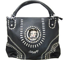 Betty Boop Black Leather Shoulder Bag Purse with Crystal & Silver Metal Studs