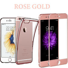 For iPhone 7Plus Case Crystal Clear +Tempered Glass Screen Protector Rose Gold