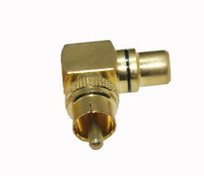 Gold Plated 90 Deg RCA male to female right angle CCTV TV RF adapter connector