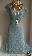 MONSOON LACE TEAL BEADED 20's WEDDING OCCASION CAMILLA DRESS & CAMISOLE 18
