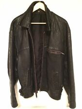 Mens Vintage Black Genuine Leather Bikers Jacket Size L