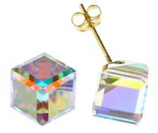 9CT YELLOW GOLD 6MM SQUARE CUBE AUSTRIAN CRYSTAL CZ STUD EARRINGS PIERCED BOXED