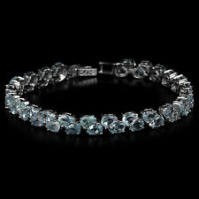 Sterling Silver 925 Genuine Natural Blue Topaz Two Row Tennis Bracelet 7.75 Inch