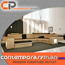 Large Italian Leather Sectional Sofa with Built-in Light Oversized