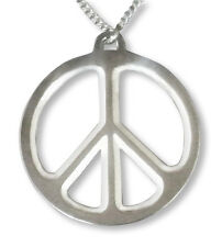 Large Peace Sign Polished Silver Pewter Necklace NK-447