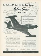 1951 Pittsburgh Plate Glass Ad McDonnell F2H-2 Banshee Jet Fighter Navy USN