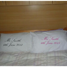 Personalised Just Married Wedding Brides Pillowcase Pair with YOUR WORDS & DATE