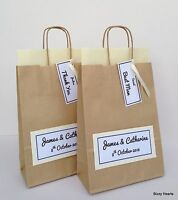 BROWN PERSONALISED PAPER WEDDING FAVOUR PARTY GIFT BAG IVORY WITH TAG