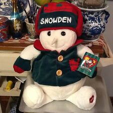 """Snowden and friends Snowman Green Red White  1998 Plush 26"""" Commonwealth Toy"""
