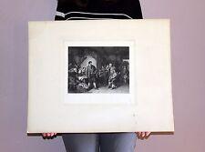 Large Original Steel Engraved Print Colonial Pioneer Old West Cabin Scene