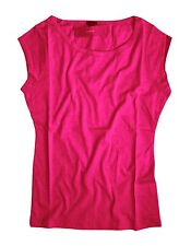 J Crew - Women's M - NWT - Hot Pink Cap Sleeve Cotton/Linen Blend Ballet Tee