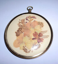 Vintage Miniature Picture Tiny Dried Flowers From Ireland Round Brass Frame T