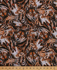 Cotton Wolves In The Wild Wolf Animals Cotton Fabric Print by the Yard D584.08
