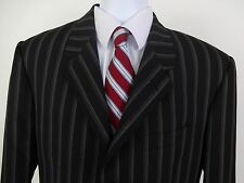 Paul Smith London 40R Suit Black Pin Stripe 3 Button Pants W34 Wool Blend Italy