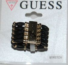 NWT Guess Gold Metal & Black Beaded Logo Engraved Wide Stretch Band Ring