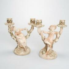 ANTIQUE PAIR OF ROYAL WORCESTER CANDLEHOLDERS OF A BOY & GIRL BY JAMES HADLEY
