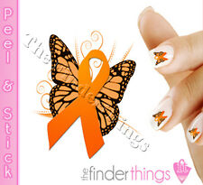 Multiple Sclerosis MS Awareness Ribbon Butterfly Nail Art Decal Sticker BFY163