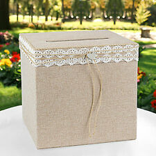New Burlap with Lace Card Holder Box For Wedding or any Pary Event