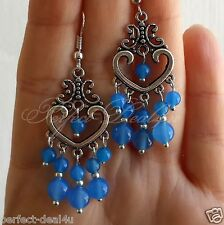 925 Sterling Silver Hook Blue Agate stone Chandelier Cute Earrings