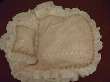 "18"" REBORN CRIB FIT ASHTON DRAKE DOLL 18"" WITH QUILT AND PILLOW PINK BRODERIE"