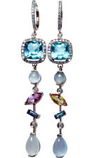 Diamond Tourmaline Sapphire Moonstone Long Dangle Earrings 14K Rose Gold