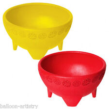2 Tropical Party Summer Salsa Dip Sauce 11.4cm Red Yellow Plastic Bowls